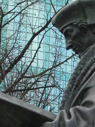 Statue of Erasmus, philosopher and theologian. One of the greatest scholars of his time, his name is now associated with one of the most successful educational programs of the EU